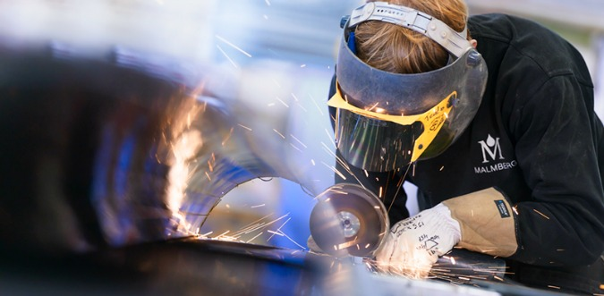 Welding in Malmberg work shop